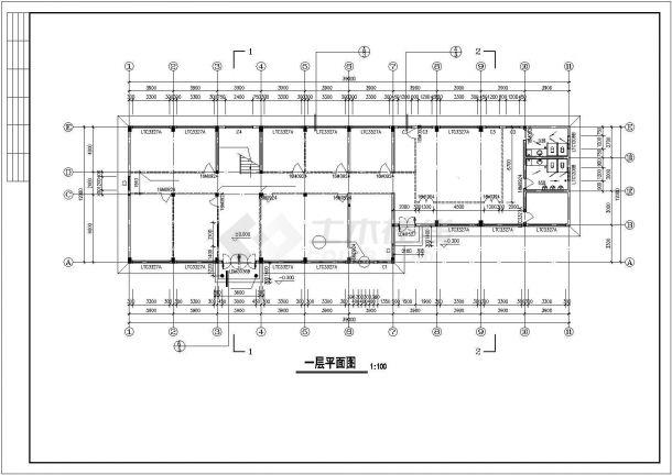 某广告公司占地420平米2层框架结构办公楼建筑设计CAD图纸-图一