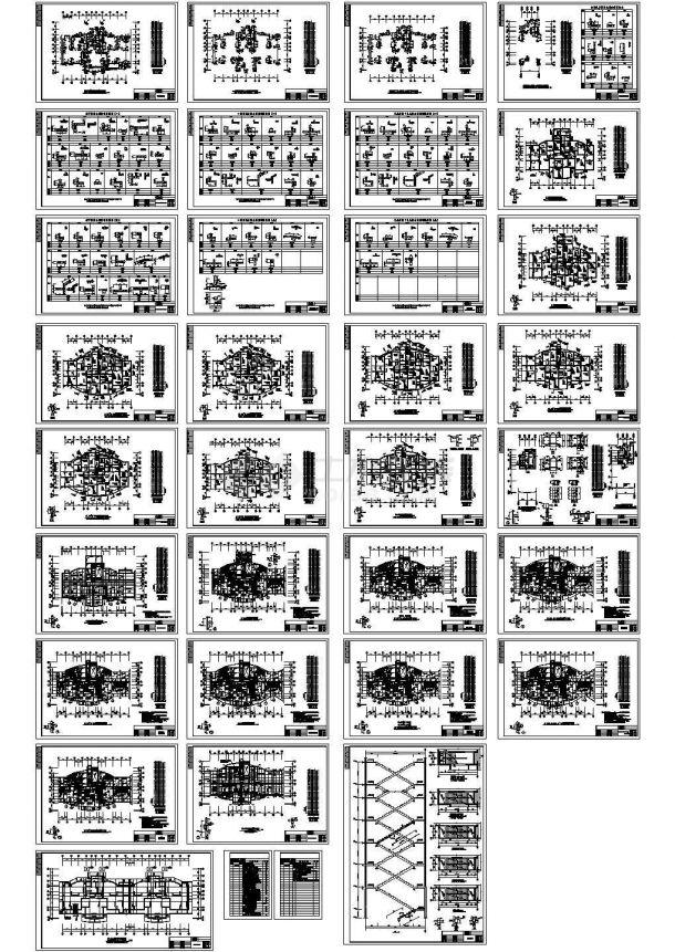 青海某28层剪力墙住宅结构cad设计图-图一