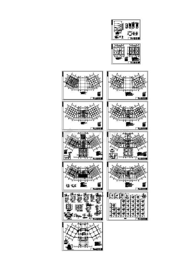 某四层会所结构施工cad设计图-图二