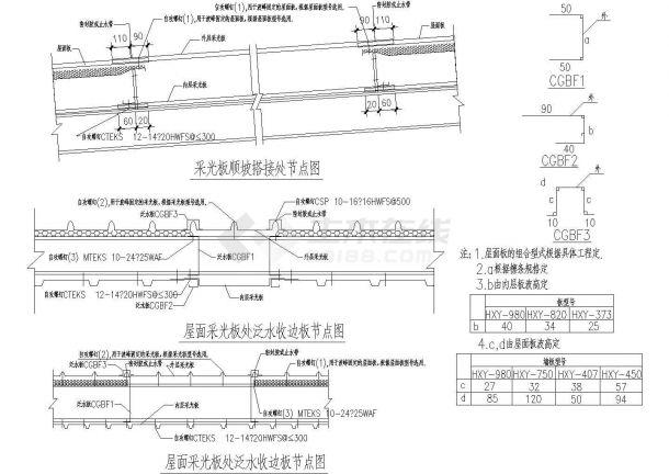 经典门式刚架结构-采光板设计cad节点详图(标注详细)-图二