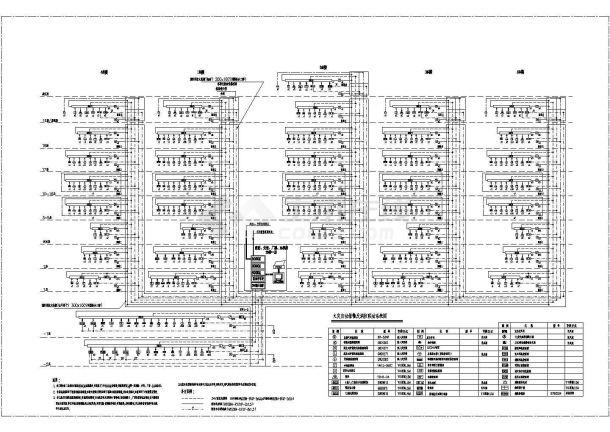 某工程消防设计cad火灾自动报警及消防联动系统图(含说明和图例)-图一