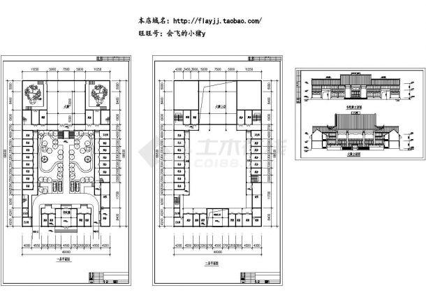 长66.6米 宽40米 二层韦陀殿建筑设计(无屋顶平面图) cad施工图设计-图二