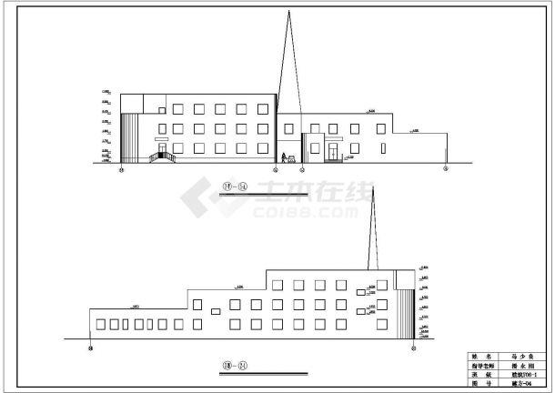 2300平米L型框架结构连锁酒店建筑设计CAD图纸(含总平面图)-图一