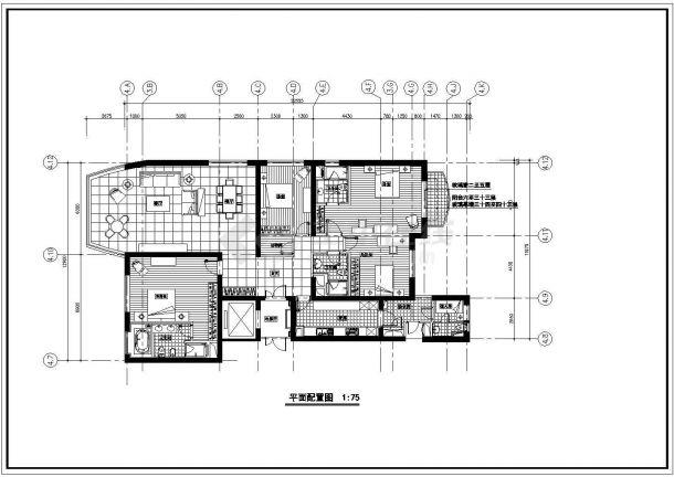 高档住宅室内精装修cad施工设计图纸(含排水布置图,平面尺寸图)-图一