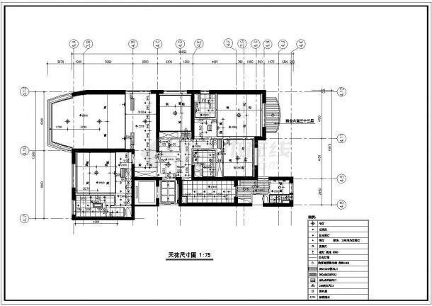 高档住宅室内精装修cad施工设计图纸(含排水布置图,平面尺寸图)-图二
