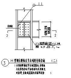 某钢柱腹板在节点域的补强措施节点构造大样设计cad图纸-图一