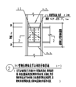 某钢柱腹板在节点域的补强措施节点构造大样设计cad图纸-图二