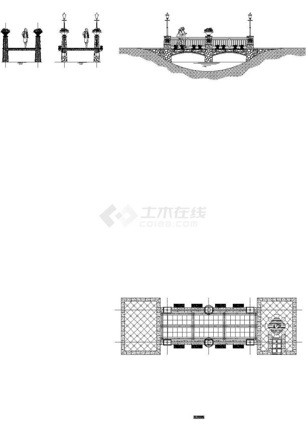 欧式景观桥建筑工程CAD施工设计图纸-图二