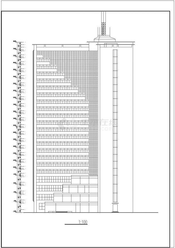 某市中心高层度假宾馆建筑设计方案施工CAD图纸-图一