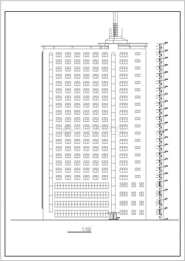 某市中心高层度假宾馆建筑设计方案施工CAD图纸-图二