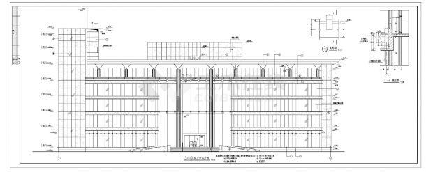 某五层现代办公楼设计图及外墙装饰施工cad图纸-图一