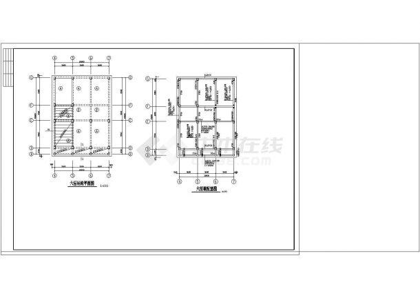办公楼设计_某地四层办公楼框架结构设计cad施工图纸-图一