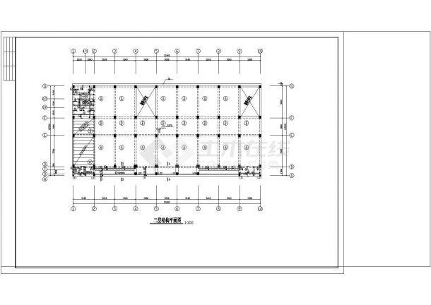 办公楼设计_某地四层办公楼框架结构设计cad施工图纸-图二