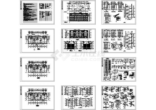 精选十五套别墅(欧式风格)建筑施工Cad设计图-图二