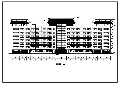 七层钢筋混凝土框架结构大学科技楼建筑施工cad图,共十二张-图一