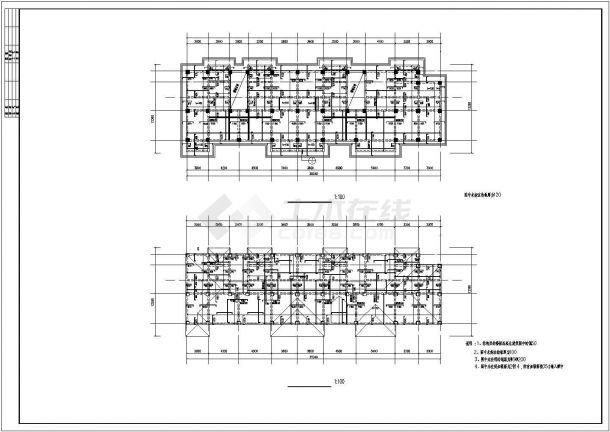 某城市钢筋混凝土框架结构多层小区住宅楼方案设计CAD图(含结构设计施工说明)-图一