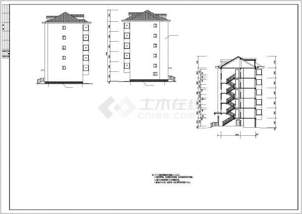 某小区钢筋混凝土框架结构多层抗震七级住宅楼方案设计CAD图(含正文及附录)-图二