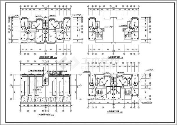 贵阳市枫秀花园小区7层砖混结构住宅楼建筑+水电设计CAD图纸-图二