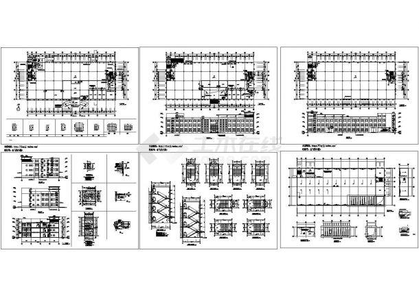 3层工厂建筑施工设计CAD图【平立剖 楼梯 门窗 卫详】-图一