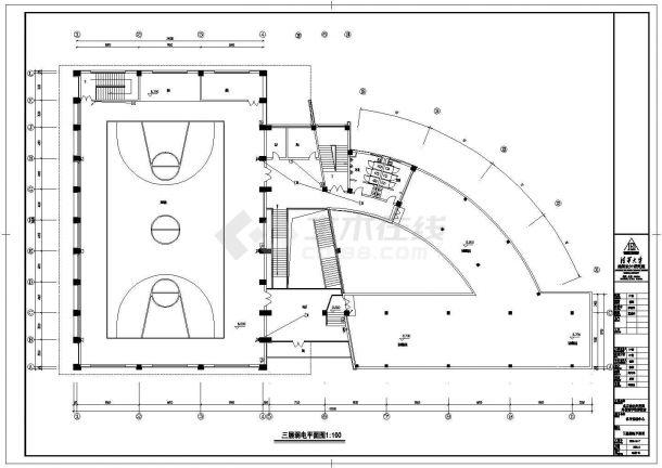 【常州】某大型体育馆全套电气cad施工设计图(含一层弱电平面图)-图二