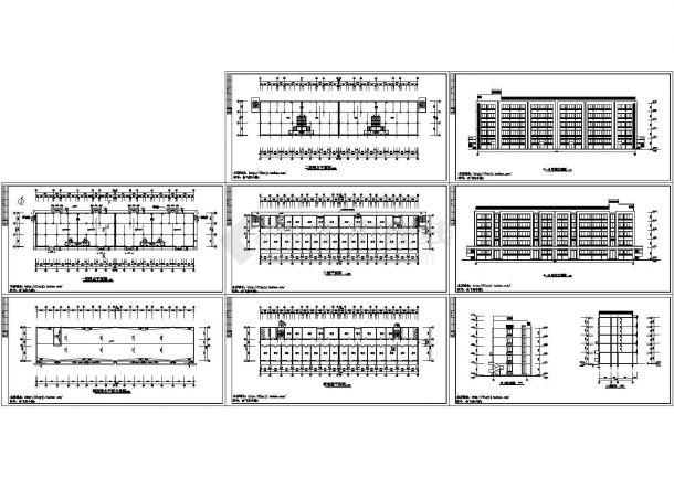 长59.35米 宽12.84米 5层单身宿舍楼设计图【平立剖】cad施工图设计-图一
