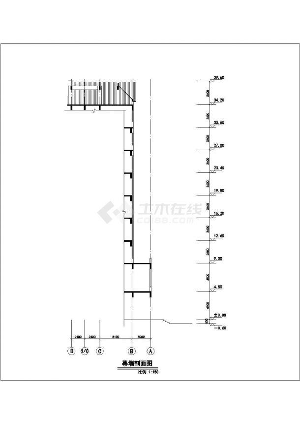 10层框架结构星级大酒店立面设计CAD图纸(含幕墙设计图)-图一
