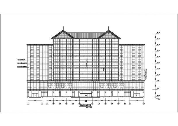 10层框架结构星级大酒店立面设计CAD图纸(含幕墙设计图)-图二