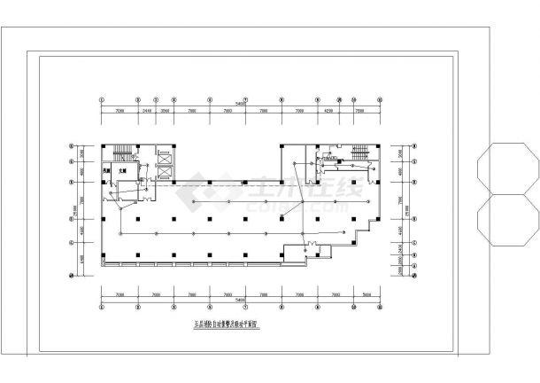 八层消防自动报警及联动CAD平面图设计-图一