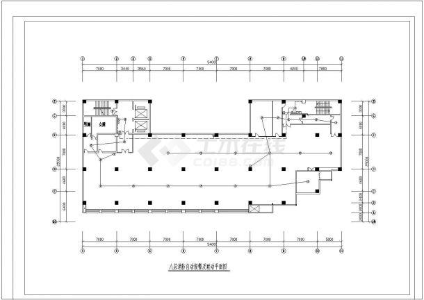 八层消防自动报警及联动CAD平面图设计-图二