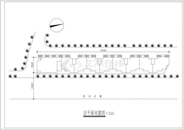 七层商住楼平立面建筑设计施工图-图一