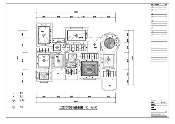沈阳某二层砖混结构别墅室内精装修设计cad全套施工图(甲级院设计)-图二