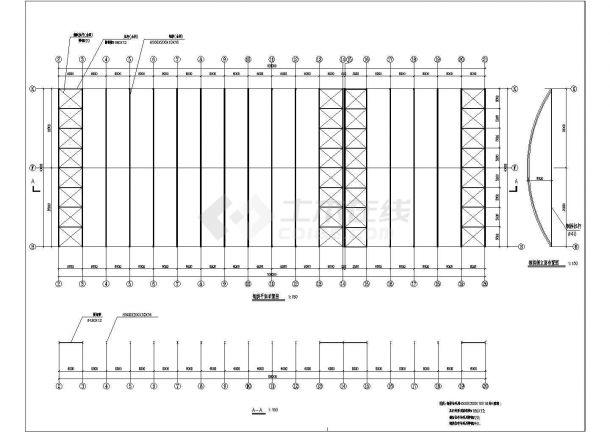 新疆某农贸市场钢结构设计图(cad,3张图纸)-图二