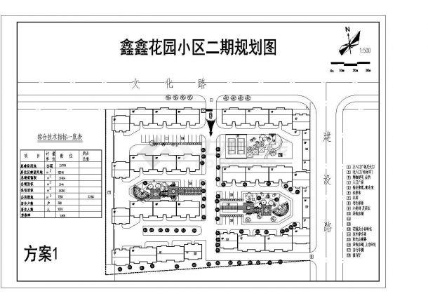 总建设用地2公顷小型住宅花园小区规划总平面图-图一