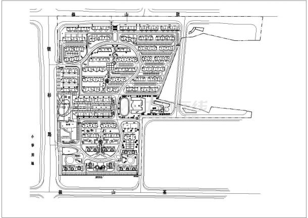 总用地12万平米总居住户数1200户小区规划总平面图-图二