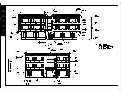 某市三层古建营业厅古建施工cad图_营业厅施工-图二