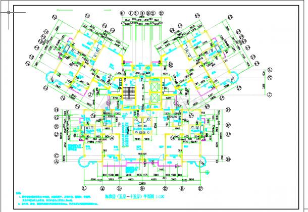 某地多层住宅楼建筑设计图纸cad-图二
