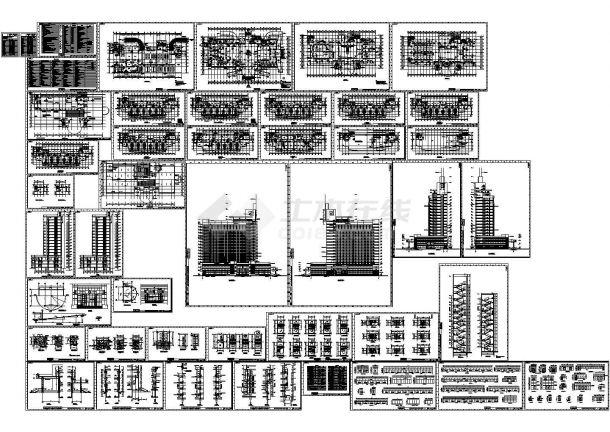 某地中心医院综合楼全套施工设计cad图(含雨棚屋顶平面图)-图一