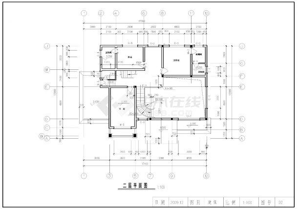 某带车库三层别墅建筑结构设计施工cad图纸-图一