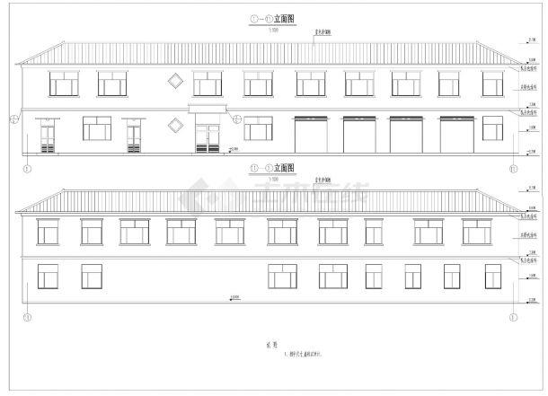 某水厂综合楼砖混结构设计施工cad图纸-图一