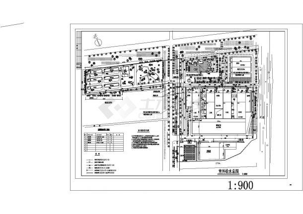 【南京】某玻璃厂室外设施全套给排水施工设计cad图纸-图一