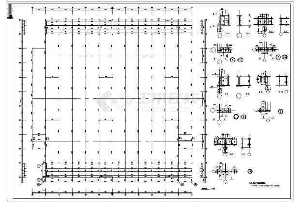 潍坊市四层钢框架钢结构家具城设坟全套施工图-图一