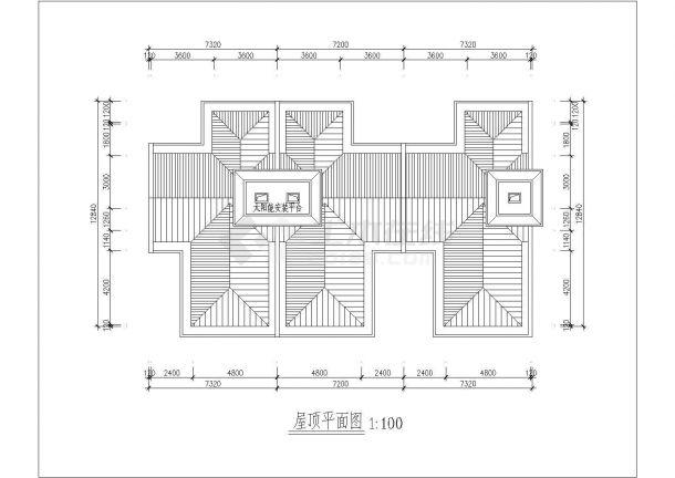 常州市某别墅区2层框混结构三拼式别墅建筑设计CAD图纸-图一
