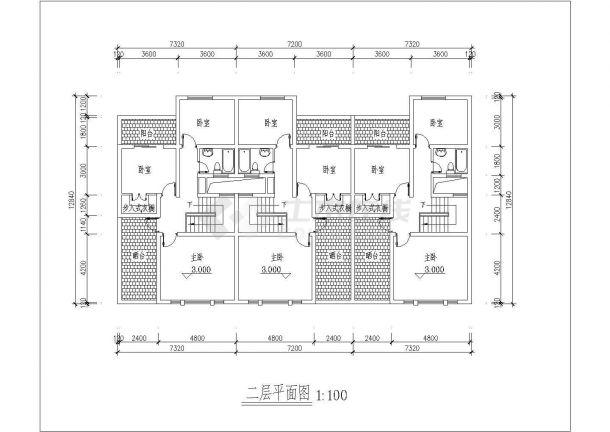常州市某别墅区2层框混结构三拼式别墅建筑设计CAD图纸-图二