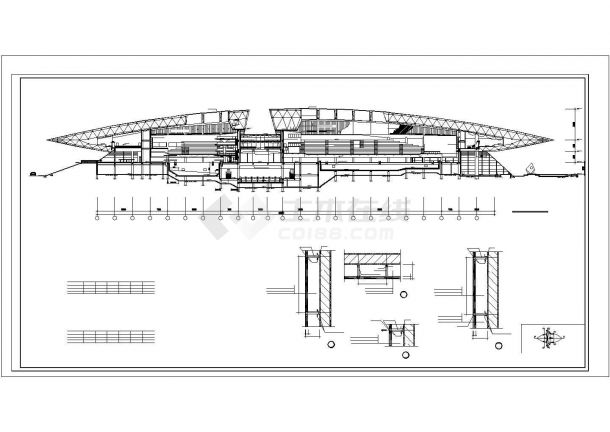 体育馆中心游泳馆跳水馆建筑CAD设计图【平立剖】-图一