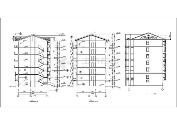 4100平米6层砖混结构住宅楼建筑设计CAD图纸(不含半地下室层)-图一