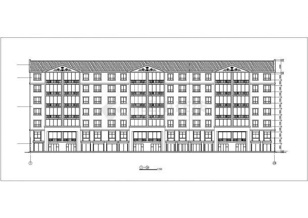 4100平米6层砖混结构住宅楼建筑设计CAD图纸(不含半地下室层)-图二