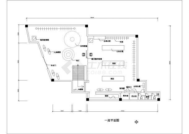 常熟某铭牌服装专卖店装修全套施工设计图纸-图二