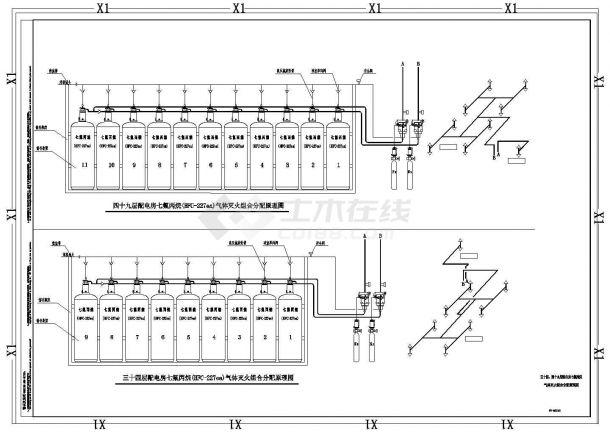 深圳某超高层办公楼给排水全套施工设计cad图纸-图二