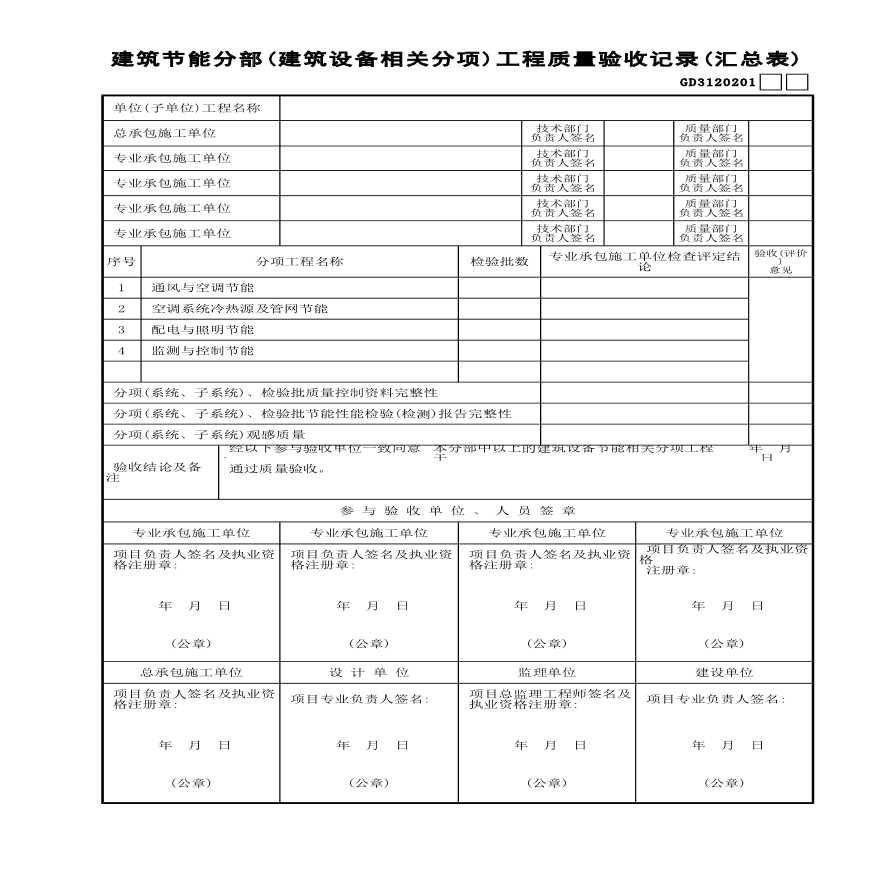 建筑节能分部建筑设备相关分项工程质量验收记录(汇总表)-图一