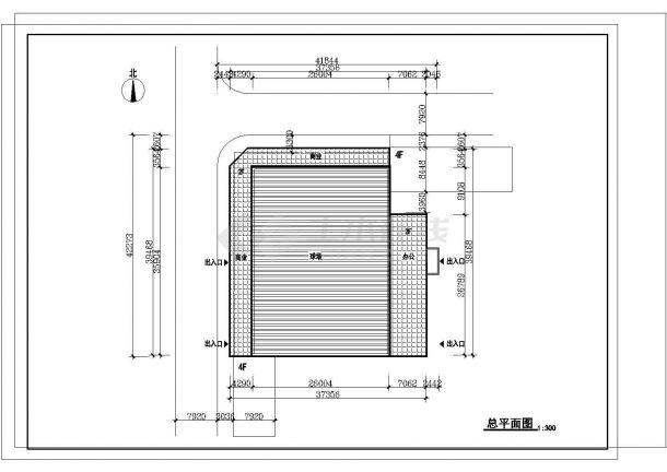 2层5800平米体育馆建筑方案设计图cad-图一